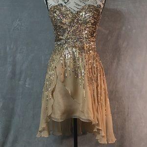 Sherri Hill Gold Nude Silk Sequined Mini Dress 6